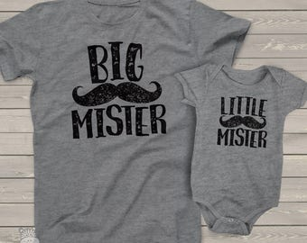 big mister  little mister  matching dad and kiddo t-shirt or bodysuit gift set - great gift for Father's Day or birthday  MDF1-044