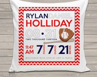 Birth announcement new baby gift custom baseball throw pillow BP-012