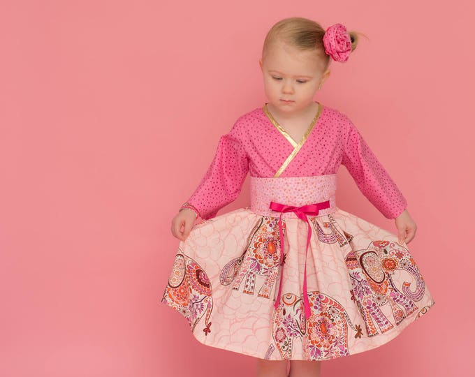 Boutique Baby Girl Dress - 1st Birthday Gift - Pink Elephants - Kimono Dress - Gold Trimmed - Baby Shower Gift - Handmade - 12 mos to 3T