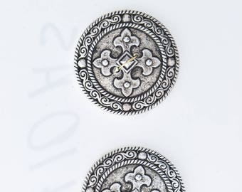 Button set of 4 , 2 hole , Plated plastic , Antique silver finish , sold 4 each OB9410AS