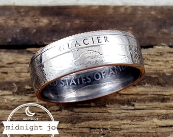 Coin Ring - Glacier National Park Quarter Ring - Double Sided Coin Ring - Glacier Coin Ring - Montana Ring - Montana Jewelry - State Ring
