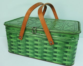 1950s Metal Picnic Tin, Green Faux Woven Wicker Pattern, Oak Handles