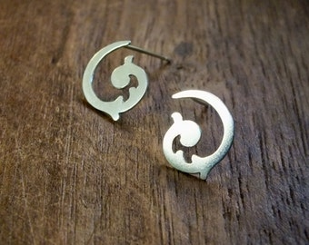 sprout of happiness stud earrings- renaissance ornamental swirl stud earrings // boho studs // bridesmaids earrings // dainty stud earrings