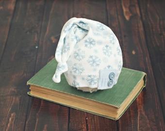 newborn sleepy stocking hat // winter prop // newborn photo prop // snowflake // baby hat// baby photography // ready to ship