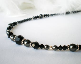 Black Swarovski Crystal Pearl Necklace - Midsummer Night Dream - wedding, prom, anniversary gift for her
