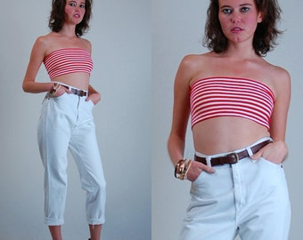 Indie Glam Tube Top Vintage 80s Red and White Striped Bandeau Tube Top (s m)