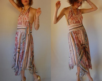 SIlk Halter Dress Vintage 90s Light Pink Tribal Beaded Asymmetrical Boho Halter Maxi Dress (s)
