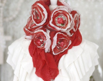cherries in the snow - angora rose bouquet neck adornment