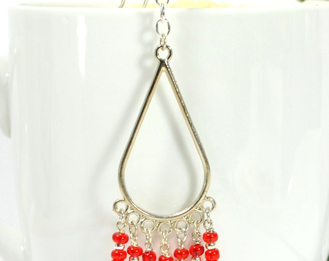 SALE - Boho Hair Beads Red Hair Charm 4 inch Snap Clip or U Pin