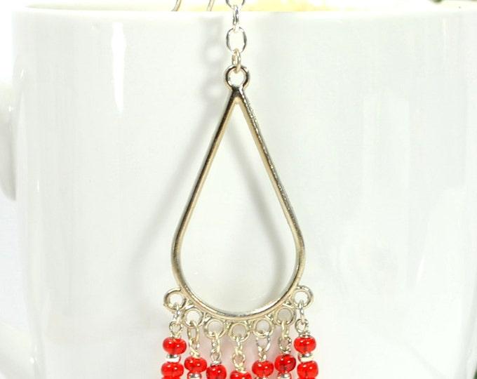SALE - Boho Hair Beads Red Hair Charm 4 inch Hair Dangle Gypsy Hair Jewelry Snap Clip or U Pin