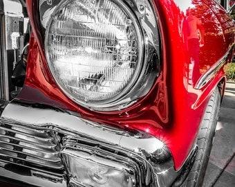 Red Chevrolet Bel Air Headlight Car Photography, Automotive, Auto Dealer, Classic, Sports Car, Boys Room, Garage, Dealership Art
