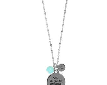 Beach Quote Custom Monogram  Initial Pendant Necklace Initial Necklace-You Choose Beach Quote