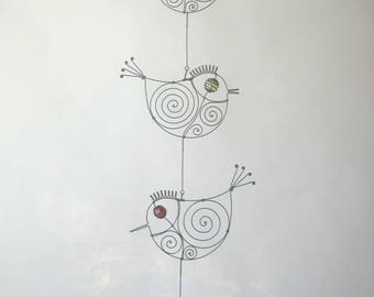 Four Wire Birds Mobile Sculpture