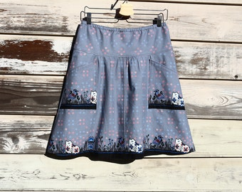 A Line Skirt, apron pockets, Portugal Skirt, Apron, Cat skirt, Border print skirt, Semi-Gathered A-line, Custom made all sizes, and lengths