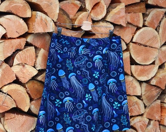 A Line Skirt, Ocean skirt, Jellyfish, Sealife skirt, Into the Deep, Nautical, Simple A-line, Custom made in all sizes, and lengths