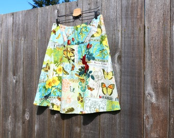 A-Line skirt, Bird Watcher, French Journal, Travel Skirt, Semi-Gathered A-line, Custom made in all sizes, and lengths