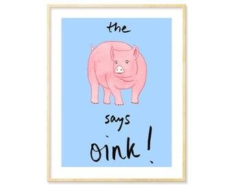 Pig Print, Pig Art, Farm Animal Prints, Farmhouse Decor, Nursery Art Print, Pig Poster, Children's Art, Baby Shower Gift, Piggy Prints, Blue