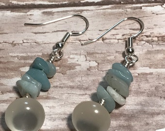 Amazonite and vintage pearl button dangle earrings