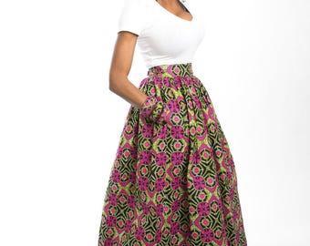 African skirt clothing, African clothing, African maxi skirt, African print skirts, Ankara skirt, Ankara clothing, High waist maxi skirt