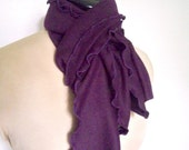 Lettuce Edge Scarf, Deep Purple Wrap, Aubergine Shade, Eggplant Color, Boho Clothing, Polyester Cotton Blend Knit, Soft Cozy Fabric Drape