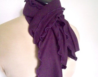 Lettuce Edge Scarf, Deep Purple Wrap, Aubergine Shade, Eggplant Color, Boho Clothing, Blend Knit, Soft Cozy Fabric Drape, Made To Order