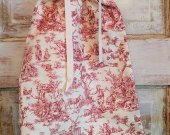 Drawstring Bag | Lingerie Bag | Cranberry Toile and Cream Bag |The Wild Raspberry