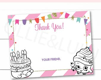 Instant Download - Editable - Shopkins and Shoppies Birthday Party Thank You Cards Stationary