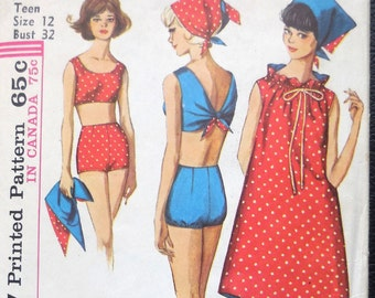 Simplicity 5494 - Mod 1960s Bikini, Swimsuit, Dress / Cover-Up and Headscarf - REVERSIBLE - Juniors Size 12 (Bust 32) - Vintage Pattern