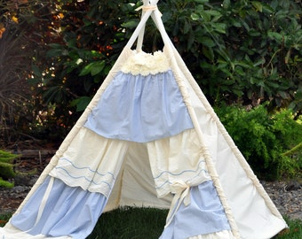 teepee, kids teepee, childrens teepee, teepee tent, play tent, upcycled - RAGGEDY ANNIE