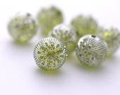 Carved Etched Round Green Silver Acrylic Beads 18mm (6)