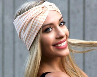 Turban Headband Soft Headband Women's Headband Peach Gingham Checks Turban Beach Style Summer Fashion Accessories Gift For Her