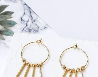 Bono Earrings, Hoops, Hoops Earrings, Long Drop Hoop Earrings, Hoop Beads, Beaded Hoop Earrings, Metal Beaded Hoops, Gold BEaded Hoops