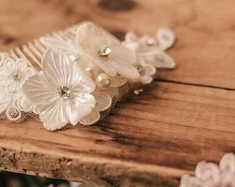 Bridal Hair Accessory, Mother of Pearl Bridal Headpiece, Wedding comb, Bridal comb, Rhinestone Hairpiece, Rhinestone clip 163