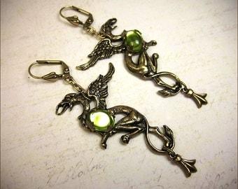 Gryffon Earrings, Emerald Griffin Jewelry, Griffon, Medieval, Renaissance Jewelry, Tudor Costume, Ren Faire, Bridal, Mythology, Heraldry