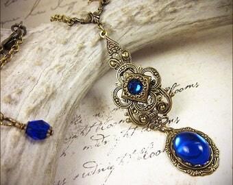 Blue Renaissance Necklace, Sapphire Pendant, Victorian Necklace, Medieval Jewelry, Ren Faire Garb, Renaissance Costume, Tudor SCA, Avalon