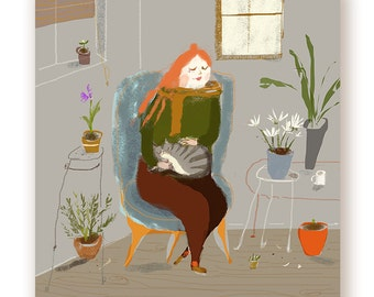 Cat Lady with Houseplants Print - Cat Painting