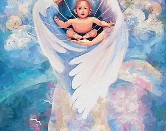 Angel blessing, angel painting, spiritual art, reiki painting, inspirational art, healing art, poster woman wall print 6x12.5+