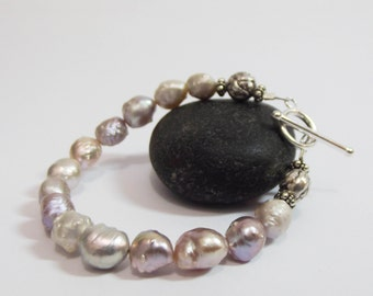 Bracelet, Real Pearls, Blush Pink, Large Pearl Bracelet, Toggle Clasp, Wife Bracelet Gift, Special Gift for Her, Sterling Clasp,Bali Beads