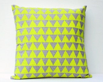 Mountains of Montana - geometric home decor, neon triangle pattern, organic hand screenprinted, lumbar and square pillow, customizable