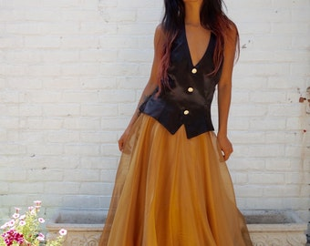 1980s Prom Formal Black Halter Dress Gold Chiffon Gown