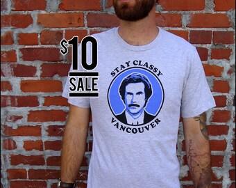 10 Dollar Sale - Stay Classy Vancouver Ron Burgundy Mens Tshirt