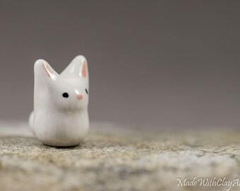 Little White Bunny - Terrarium Rabbit Figurine - Easter Gift - Miniature Ceramic Porcelain Animal Sculpture - Hand Sculpted