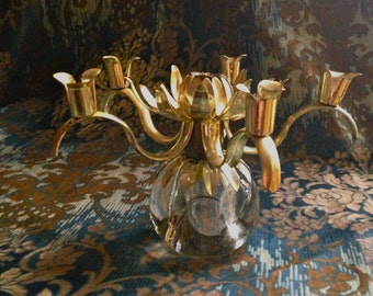 Vintage ornate tole candle holder, brushed gold metal candle holder, tole candleholder, mid century tole centerpiece, coffee table decor