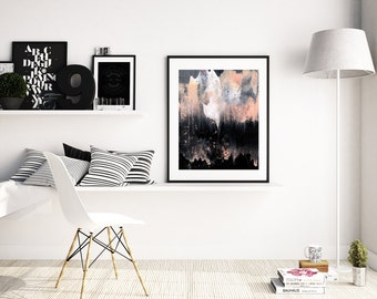 """Abstract Painting """"Ghost in the Mountains"""" by Jules Tillman Fine Art Lustre Print minimal abstract watercolor painting white pink grey black"""