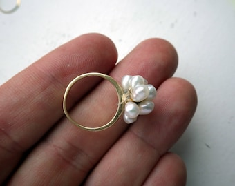 Pearl Cluster Ring - Yellow Gold - Solid Gold - 14k - Baroque Pearls - Size 5.