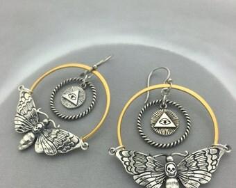 Illuminati Occult Earrings with Skull Moth