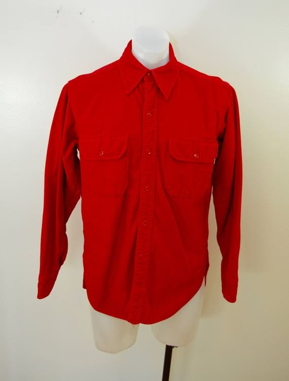 Vintage WOOLRICH Red Chamois Shirt long sleeve made in USA