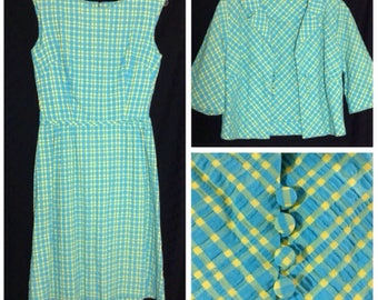 1960s or 1970s sleeveless dress with 1/2 sleeve jacket, size small