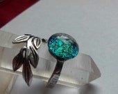 Tree Leaf Cremation Jewelry Ring Ashes InFused Glass Urn Adjustable Sterling Silver Spoon Pet Memorial