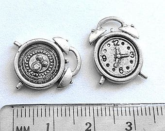 5 Alarm Clock charm, clock charms, Alarm Clock Charms, Clock Pendant, antique silver tone metal, 2 sided charm